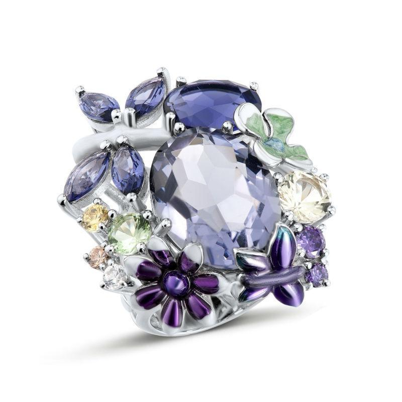 925 Sterling Silver Purple Bouquet Enamel And CZ Ring