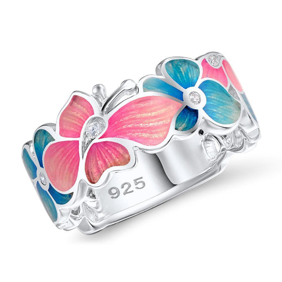 Butterfly Flower Enamel And CZ Ring