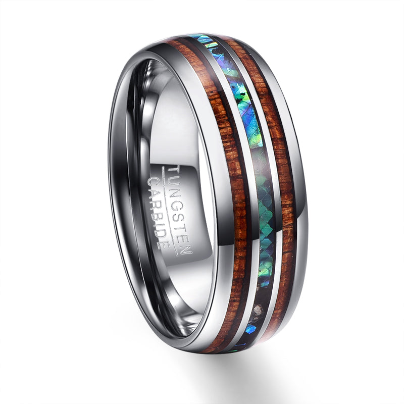 Hawaiian Koa Wood and Abalone Shell Tungsten Carbide Ring