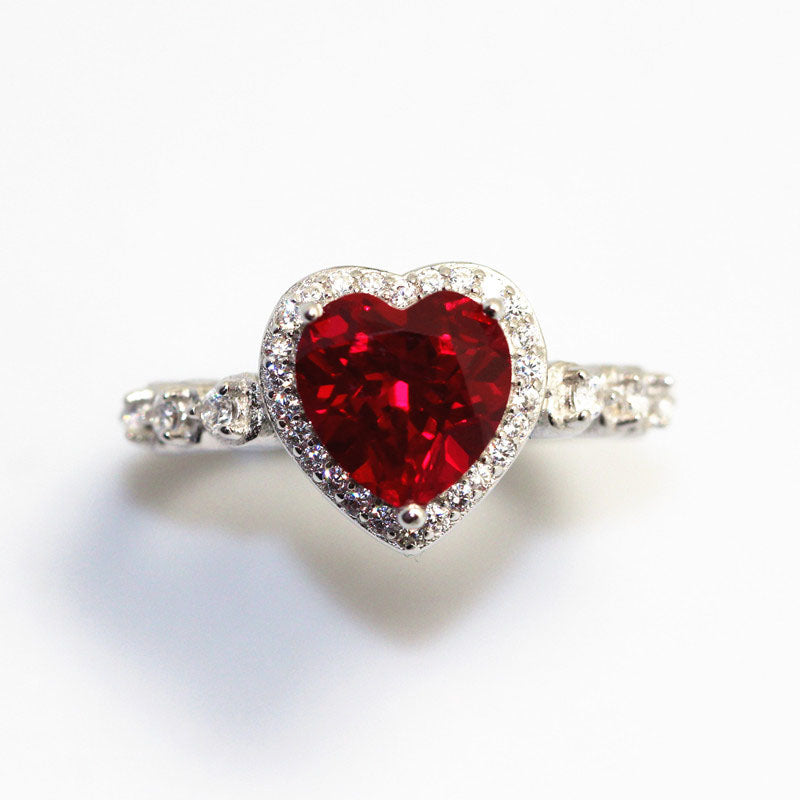 Heart Shaped Red Ruby And 925 Sterling Silver