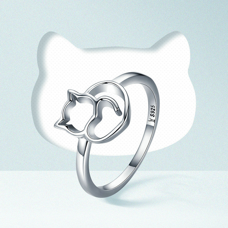925 Sterling Silver Little Cat And Heart Ring