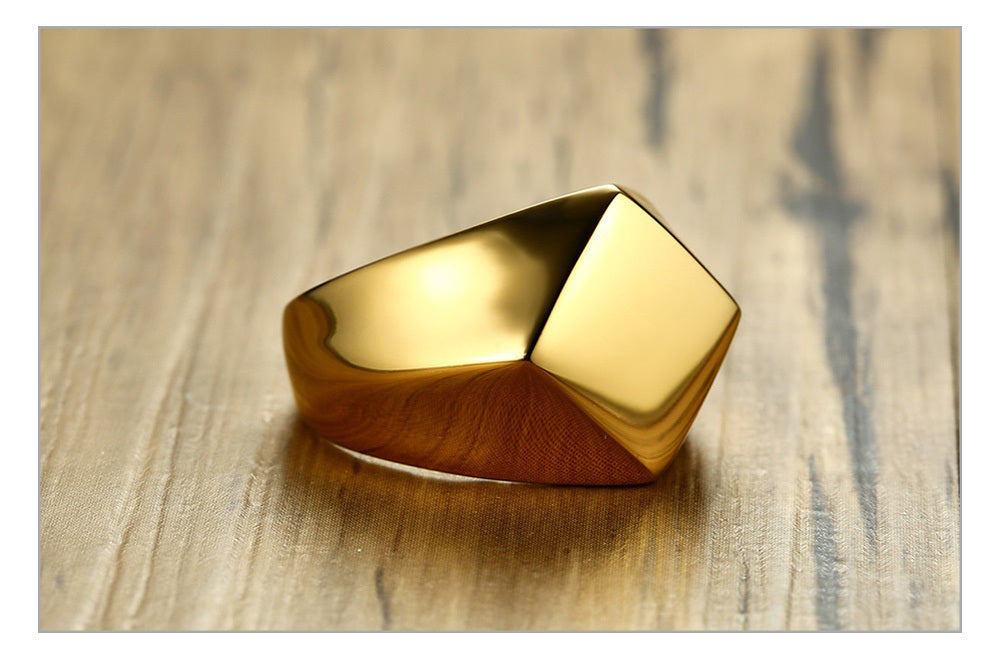Stainless Steel Flat Top Rhombus Signet Ring