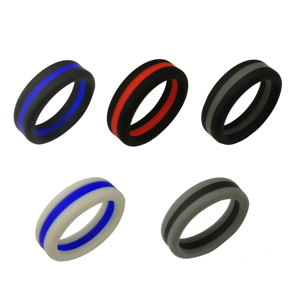 8mm Flexible Silicone Striped Wedding Band Replacement