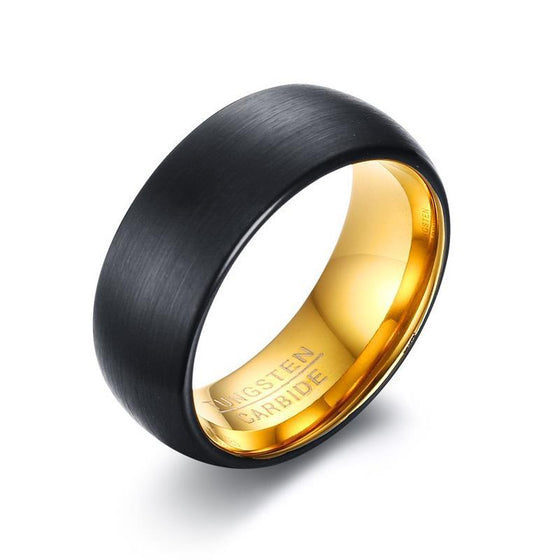 Matte Black And Gold Tungsten Carbide Ring