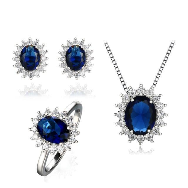 Dark Blue Sapphire and 925 Sterling Silver Jewelry Set
