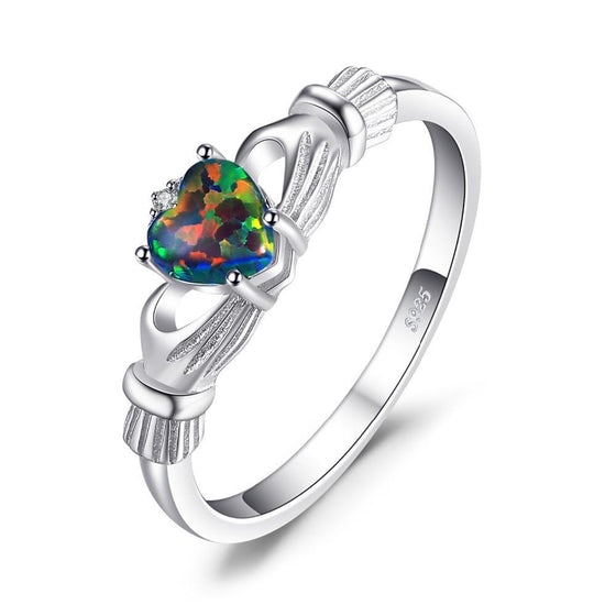 0.4 Carat Rainbow Fire Opal And 925 Sterling Silver Irish Claddagh Ring