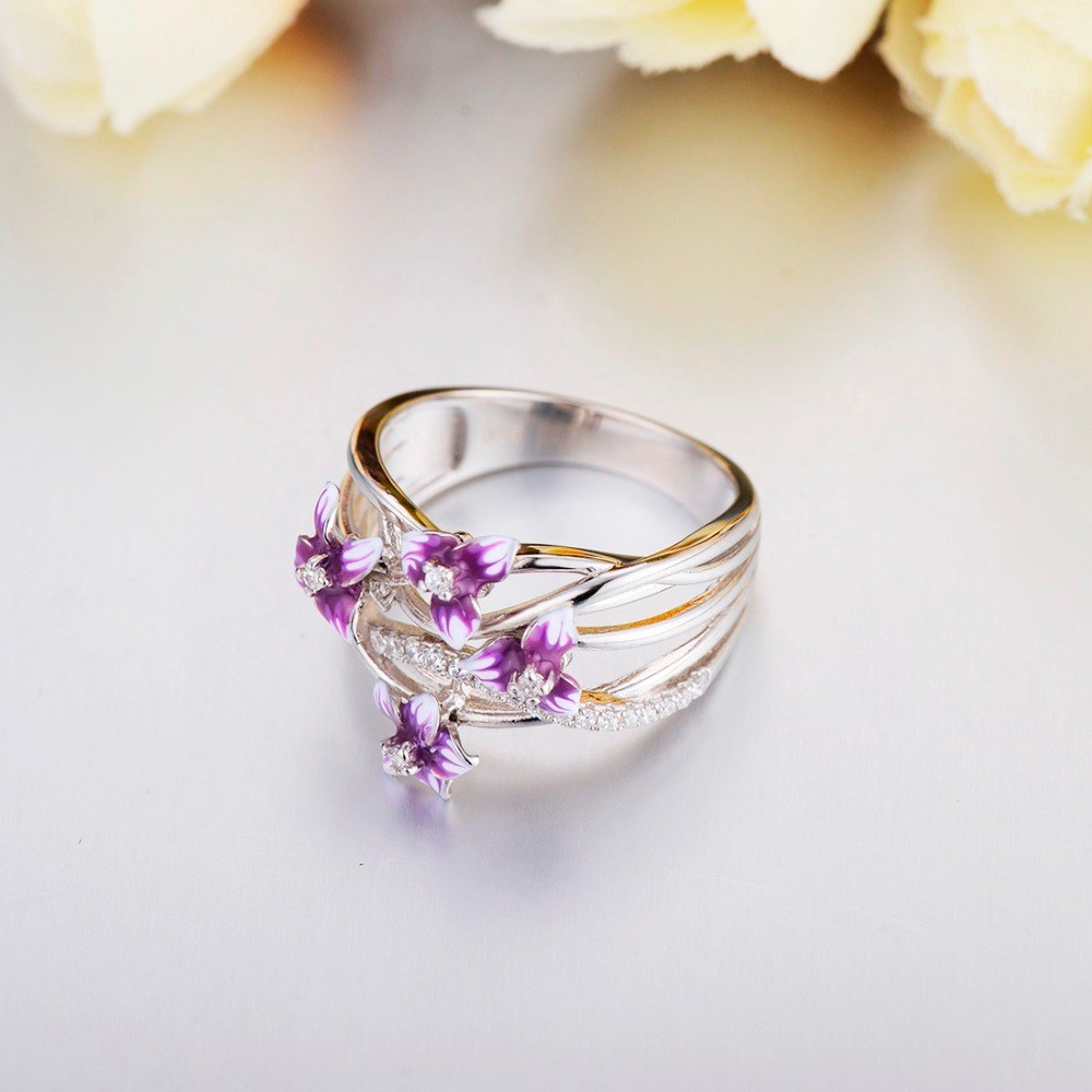 925 Sterling Silver Blooming Flower Enamel And CZ Ring