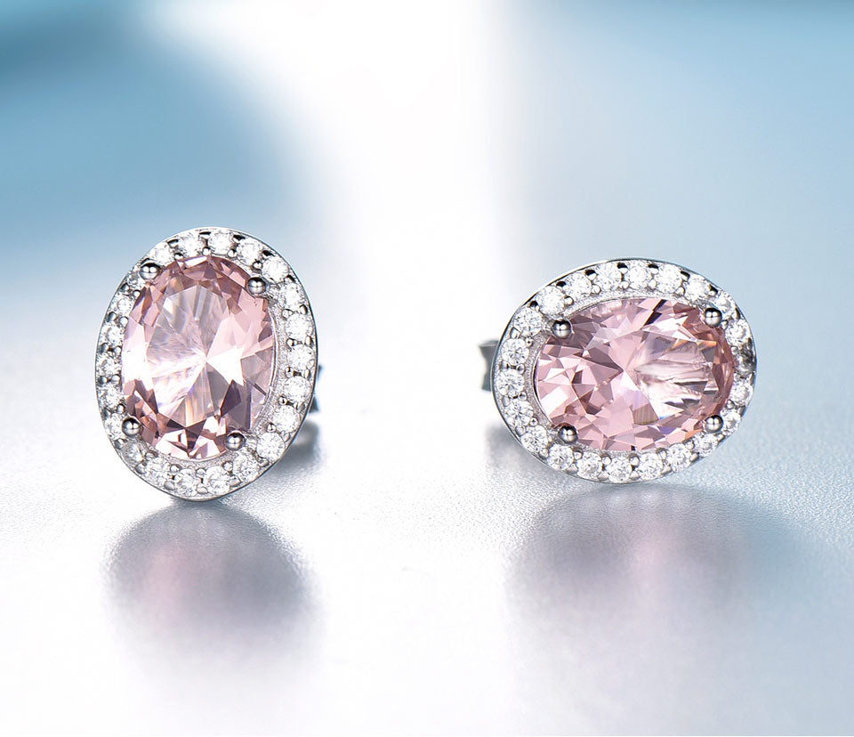 Pink Sapphire and 925 Sterling Silver Jewelry Set
