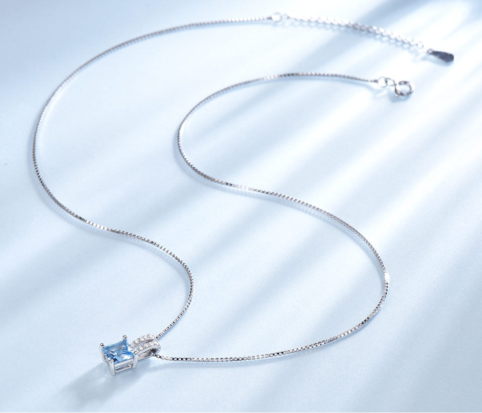 Blue Topaz and 925 Sterling Silver Jewelry Set
