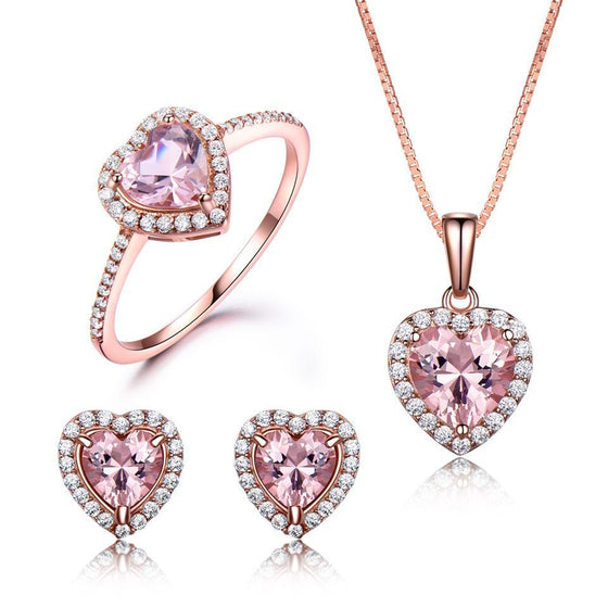 Heart Shaped Morganite and 925 Sterling Silver Jewelry Set