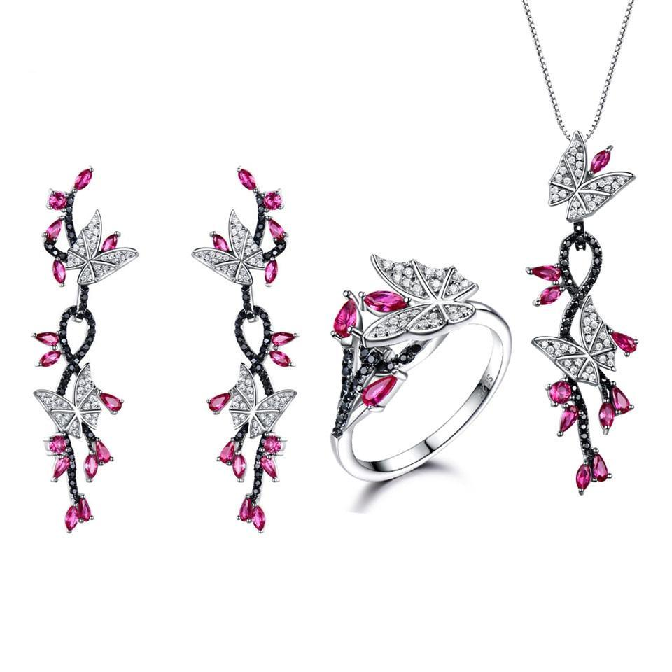 Ruby, Black Spinel and 925 Sterling Silver Butterfly Jewelry Set