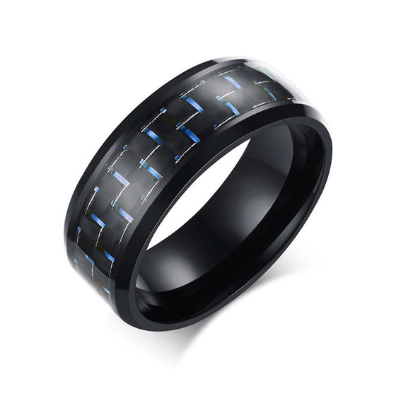 Stainless Steel Checker Inlay Ring Blue / 10