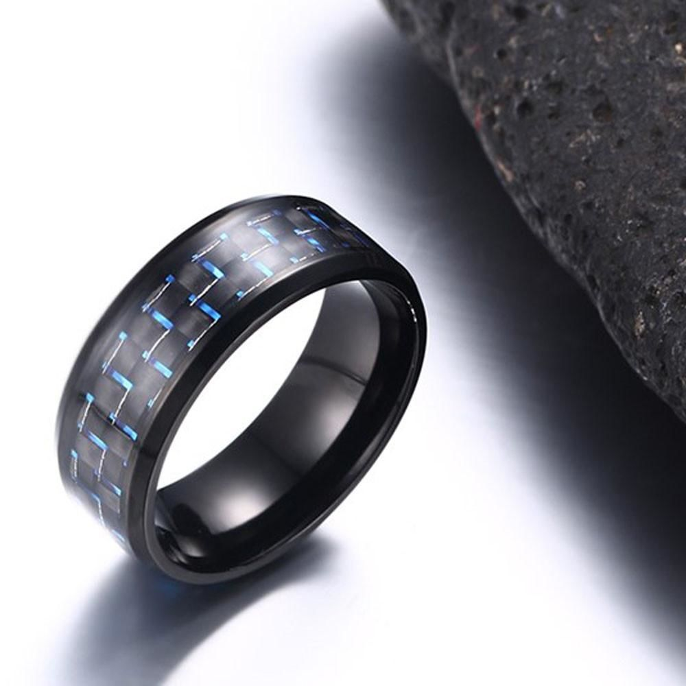 Stainless Steel Checker Inlay Ring Blue / 8