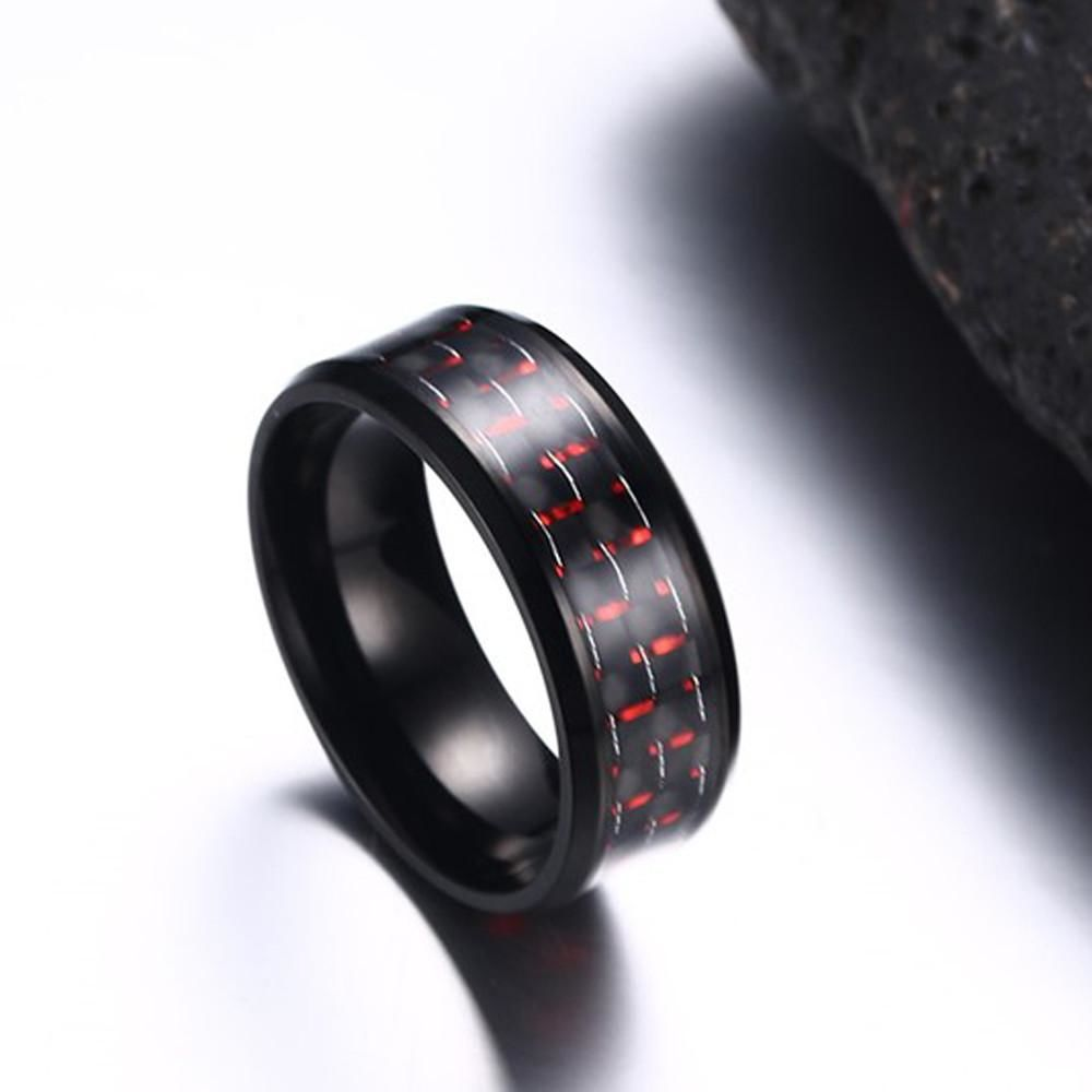 Stainless Steel Checker Inlay Ring Red / 9