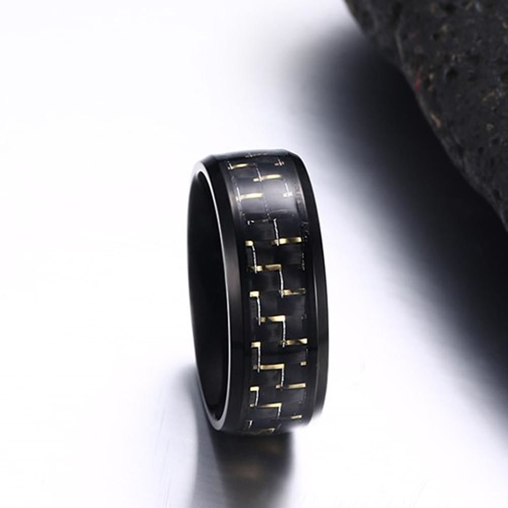 Stainless Steel Checker Inlay Ring Yellow / 10