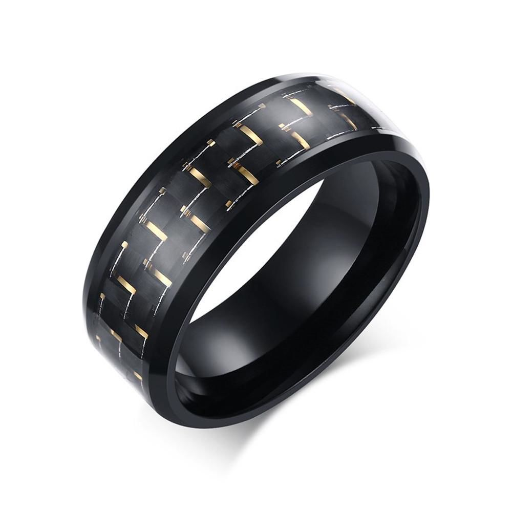 Stainless Steel Checker Inlay Ring Yellow / 7