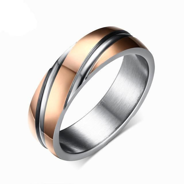 Stainless Steel Spiral Ring 10 / Rose Gold Color
