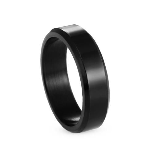 Titanium Brushed Stainless Steel Ring 11 / Black