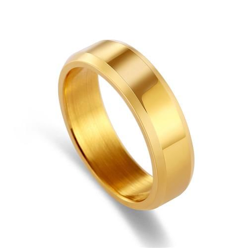 Titanium Brushed Stainless Steel Ring 11 / Gold