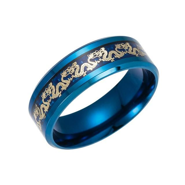 Traditional Gold Dragon Inlay Ring 10 / Blue