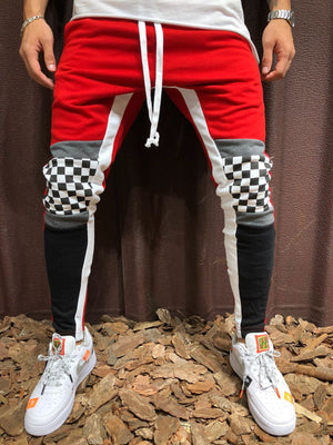 Jogger Sweatpants Block Colored Checkered Knee 3952