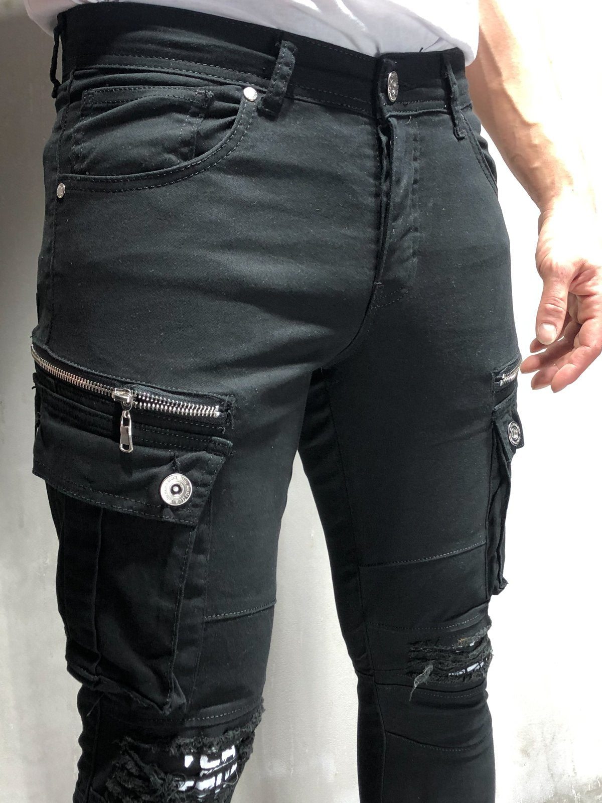 Black Cargo Jeans Ripped&Repaired Knee 4195