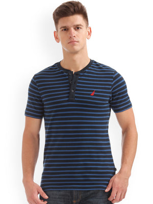 Nautica Men Blue Striped Henley Neck T-shirt