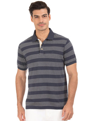 Nautica Men Navy Blue Striped Polo Collar T-shirt