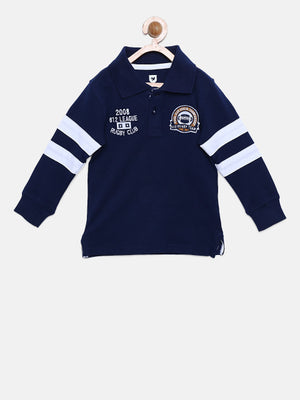 612 league Boys Navy Blue Printed Back Polo Collar T-shirt