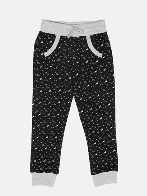 United Colors of Benetton Boys Black Bird Print Track Pants