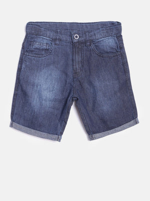 Yellow Kite Boys Navy Blue Washed Regular Fit Denim Shorts