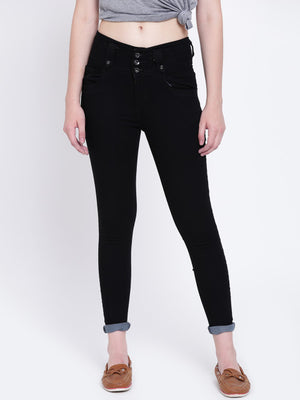 High Star Women Black Slim Fit High-Rise Clean Look Jeans
