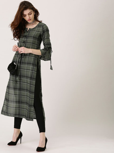 Libas Women Olive Green & Black Checked Straight Kurta