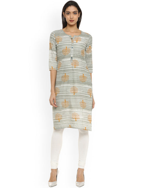 Soch Women Grey Printed Straight Kurta