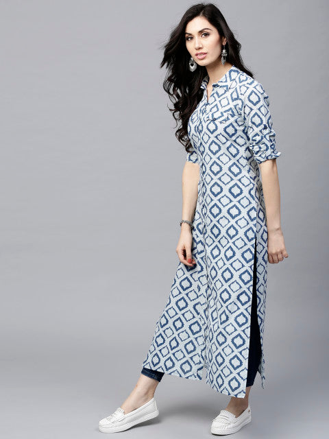 AKS Women Navy & Off-White Printed Straight Kurta