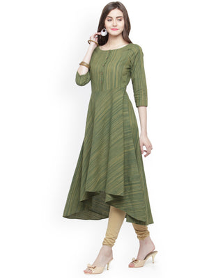 Jompers Women Green Woven Design A-Line Kurta
