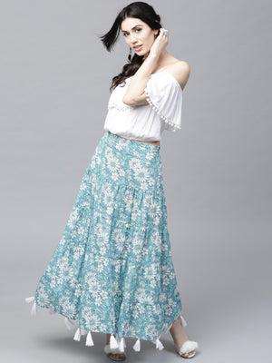 AKS Blue & White Printed Tasselled Maxi Tiered Skirt