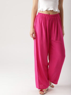 Libas Women Pink Wide Leg Solid Palazzos