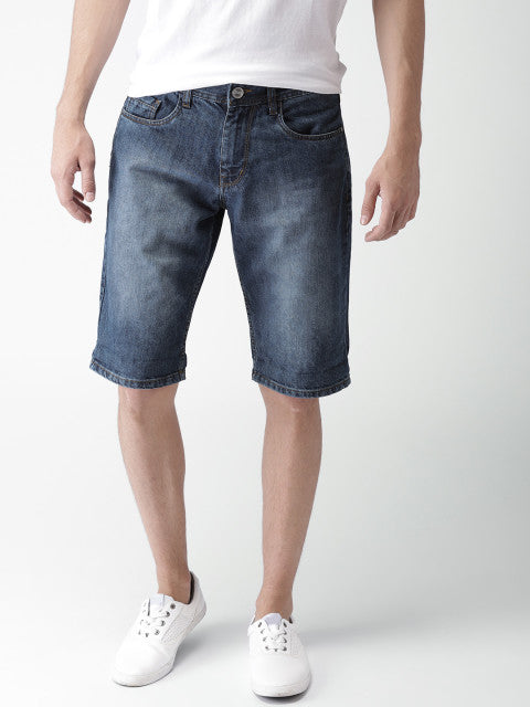 Mast & Harbour Men Blue Washed Regular Fit Denim Shorts