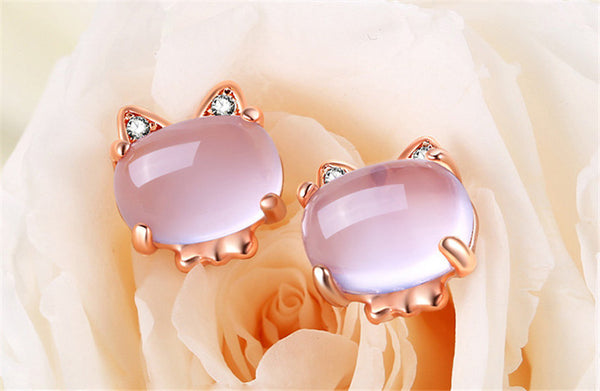 Rose Gold Cute Cat Jewelry Set - Necklace Earrings and Ring