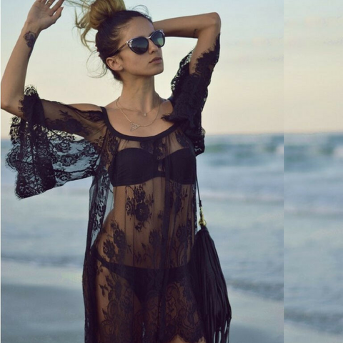 Lace Beach Cover Up Pareo Playa Coverup Dress Vestido Livre Swimsuit Wear - cuteandfashions