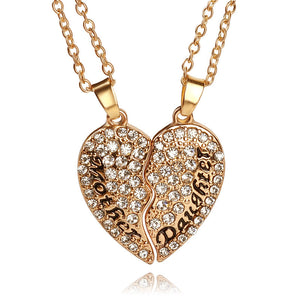 2pcs/set Heart Mother Daughter Cubic Zirconia Necklace