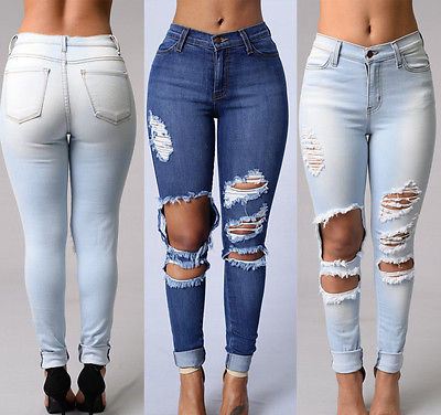High Waist Stretch Jeans Slim Pencil Trousers