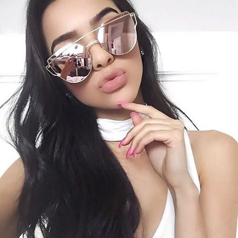 Cat Eye Sunglasses Women Brand Vintage Fashion Rose Gold Mirror Sun Glasses - cuteandfashions