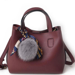 Bolish Litchi Pattern Soft PU Leather Women Handbag - cuteandfashions