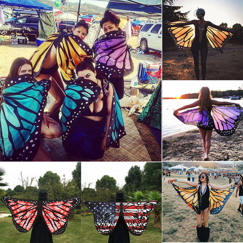Multi-style Colorful Soft Fabric Butterfly Wings Fairy Cover-Ups Ladies Summer Beach Wrap Costume Accessory - cuteandfashions