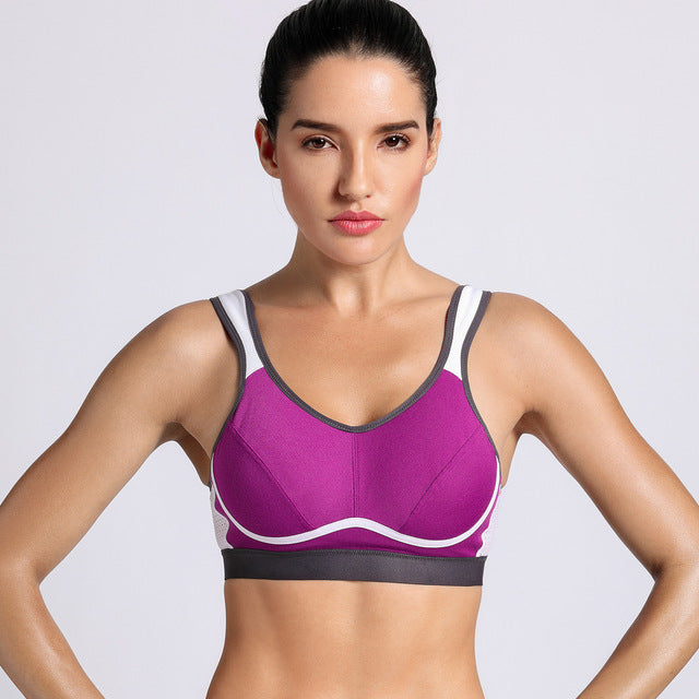 SYROKAN Women's High Impact Support Bounce Control Workout Plus Size Sports Bra - cuteandfashions