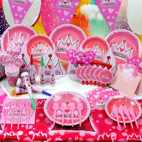 Pink Princess Crown 12 People Kids Birthday Party Decoration Girl Event Supplies Favor Items
