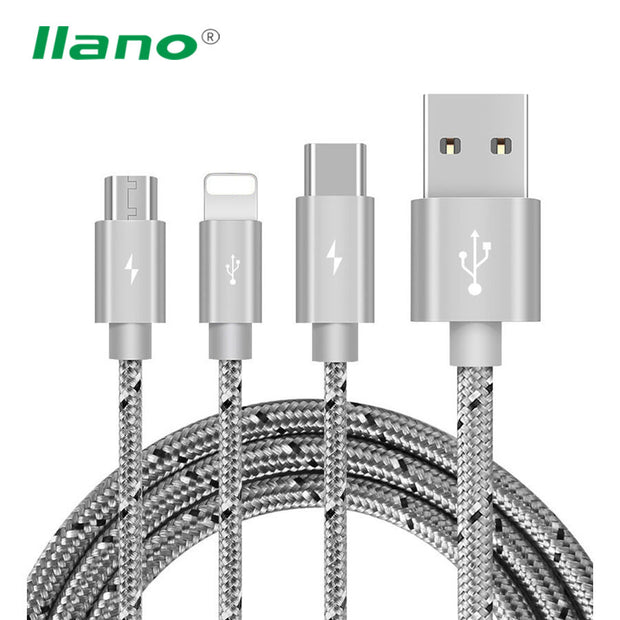 3 in 1 Charge Cable Micro USB Type C Charger Wire Charging Data Sync Line For iphone 7 6 6s Plus Samsung Xiaomi Huawei Meizu LG