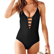 Sexy One Piece Swimsuit Women Bathing Suit Swim Vintage Beach Wear Print Bandage Swimsuit#12-19